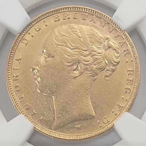 England - 1 Sovereign 1887M (AU 55), Young Head & St. George