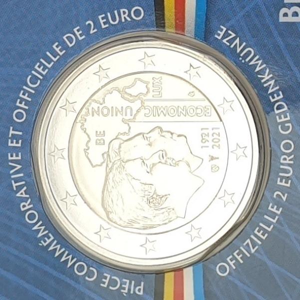 France - 2 Euro 2021, Economic Union, (Coin Card)