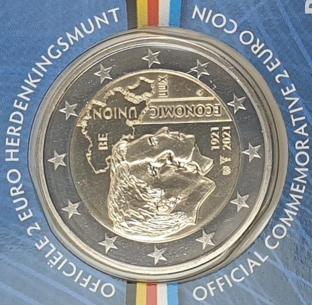 Belgium - 2 Euro 2021, Economic Union, (Coin Card)