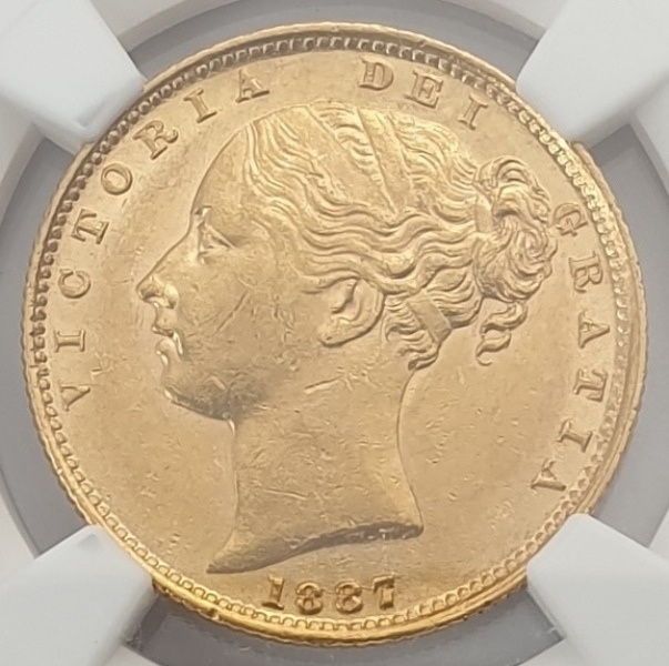 England - 1 Sovereign 1887S (MS 60), Young Head & Shield