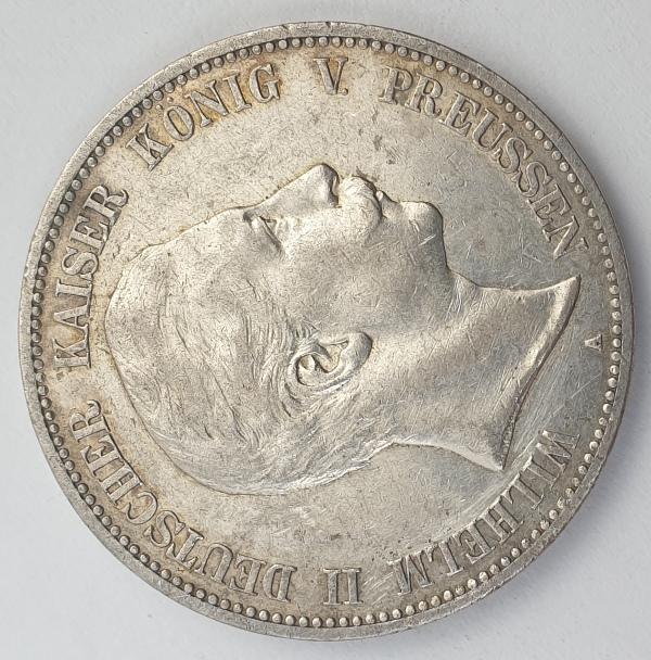 Germany - 5 Mark 1907 A, Wilhelm II, Silver