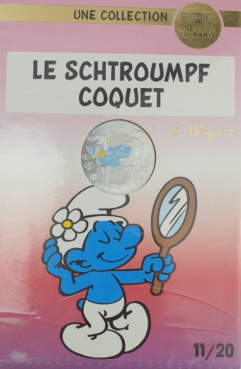 Γαλλία - 10 Ευρώ 2020, Τα Στρουμφάκια, (Coin Card)